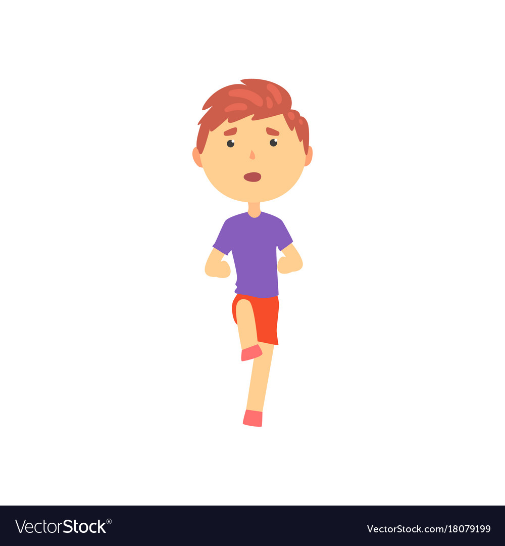 Boy Doing Sport Exercise Kids Physical Activity Vector Image