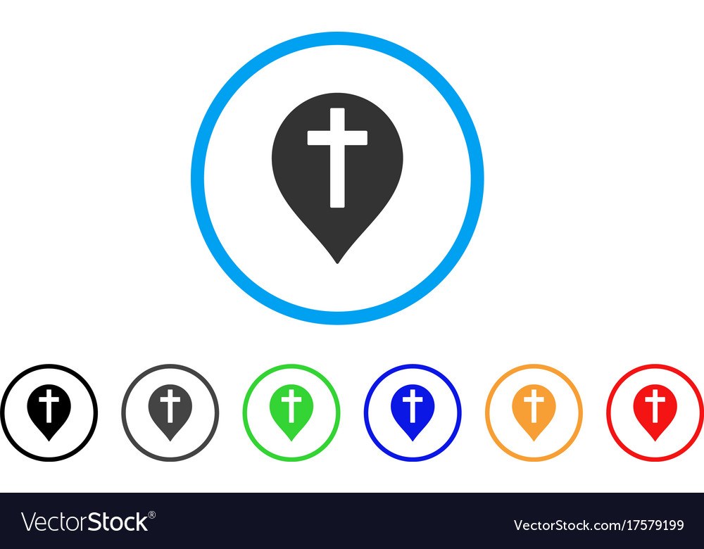 Christian cross marker rounded icon