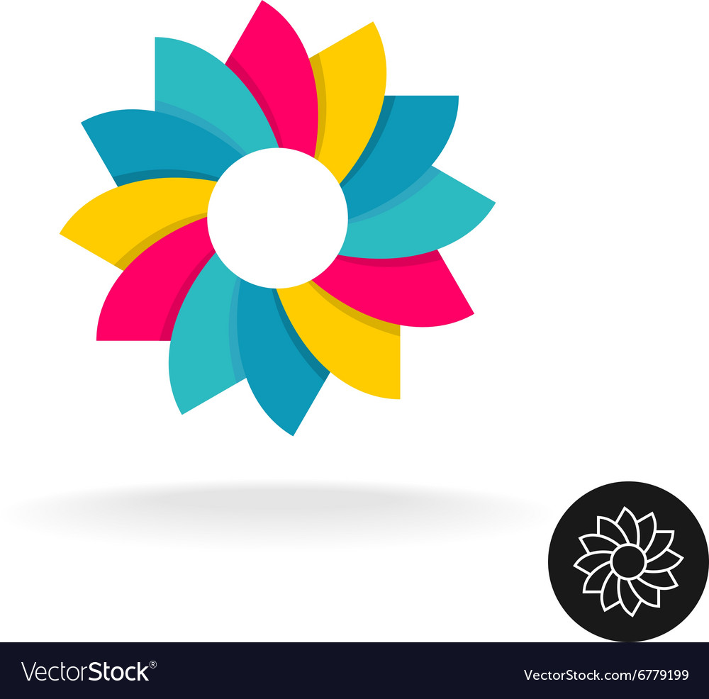Colorful sun flower logo Abstract symbol with
