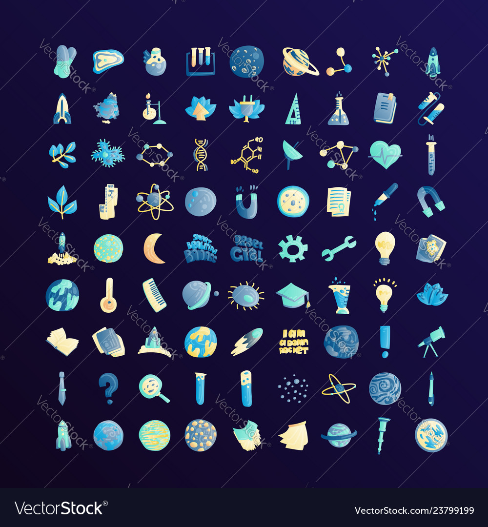 Cute cartoon icons on science school study theme