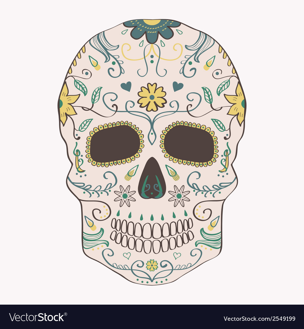 Day of the Dead skull with ornament
