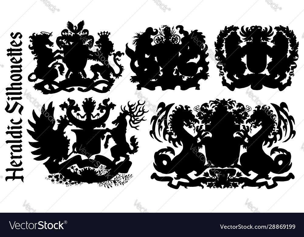 Design set with heraldic element silhouettes