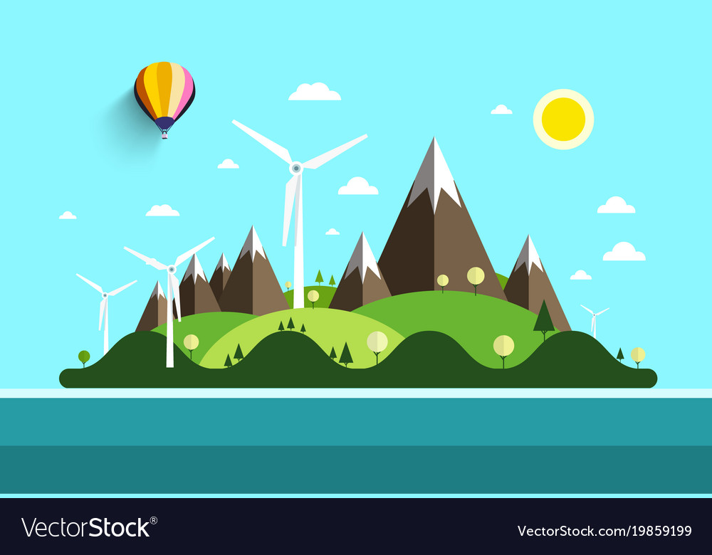 Flat design landscape island in ocean nature