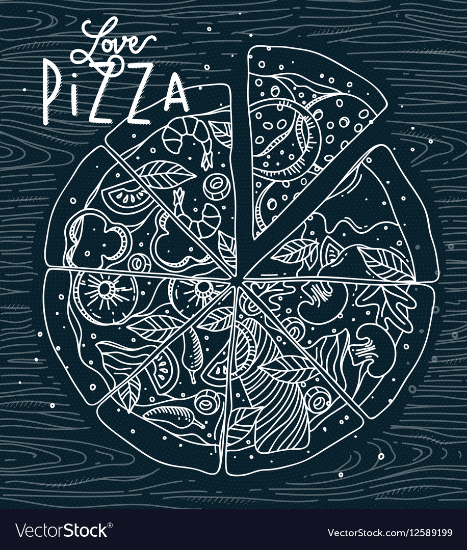 Poster love pizza blue