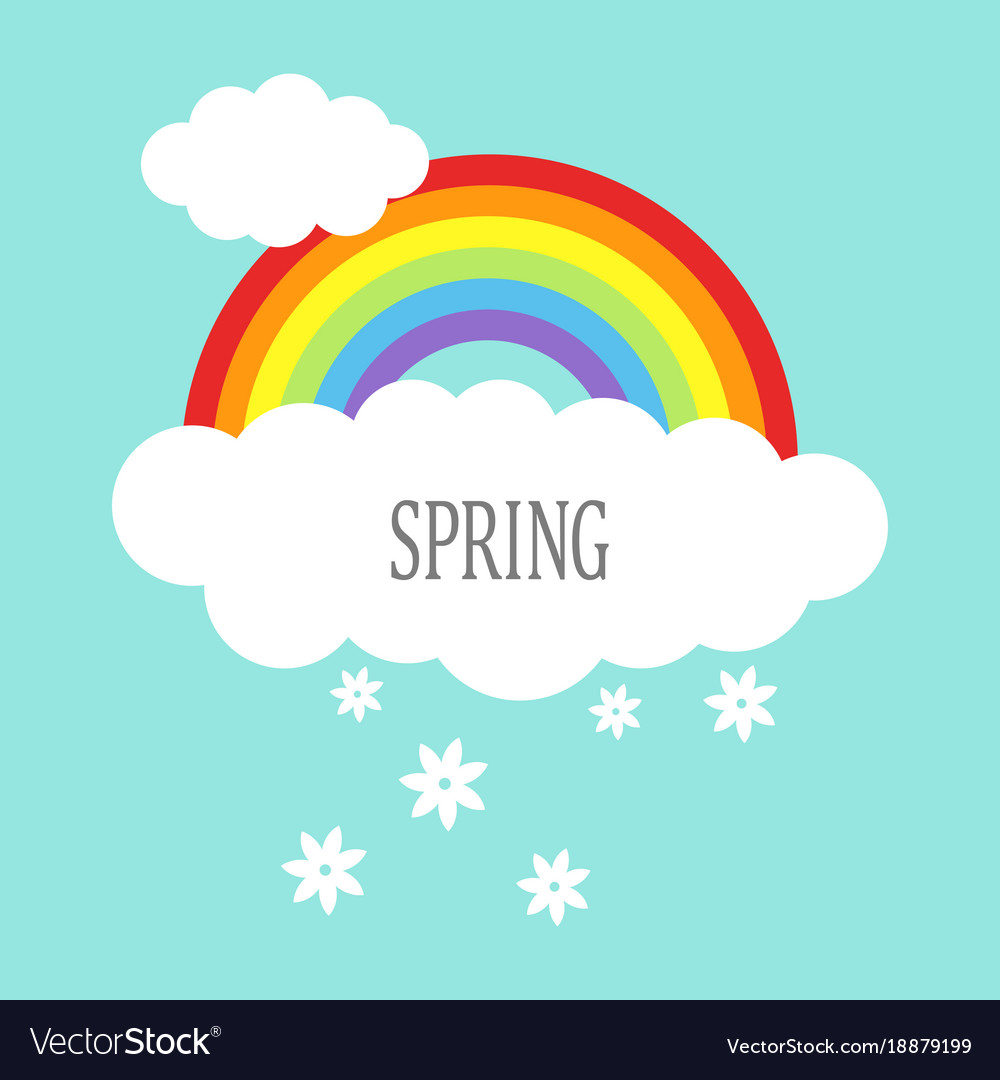 Rainbow with clouds and flowers vector image