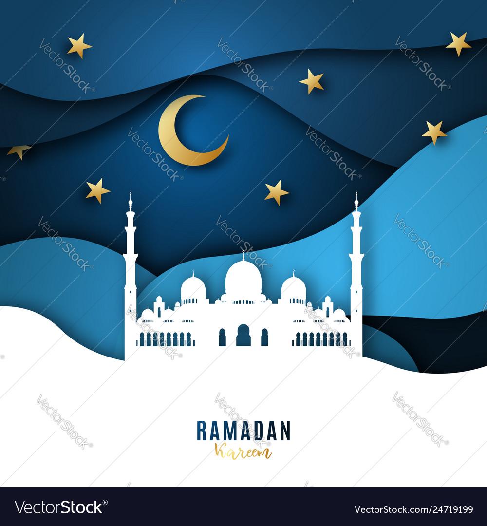 Ramadan kareem paper art background with mosque