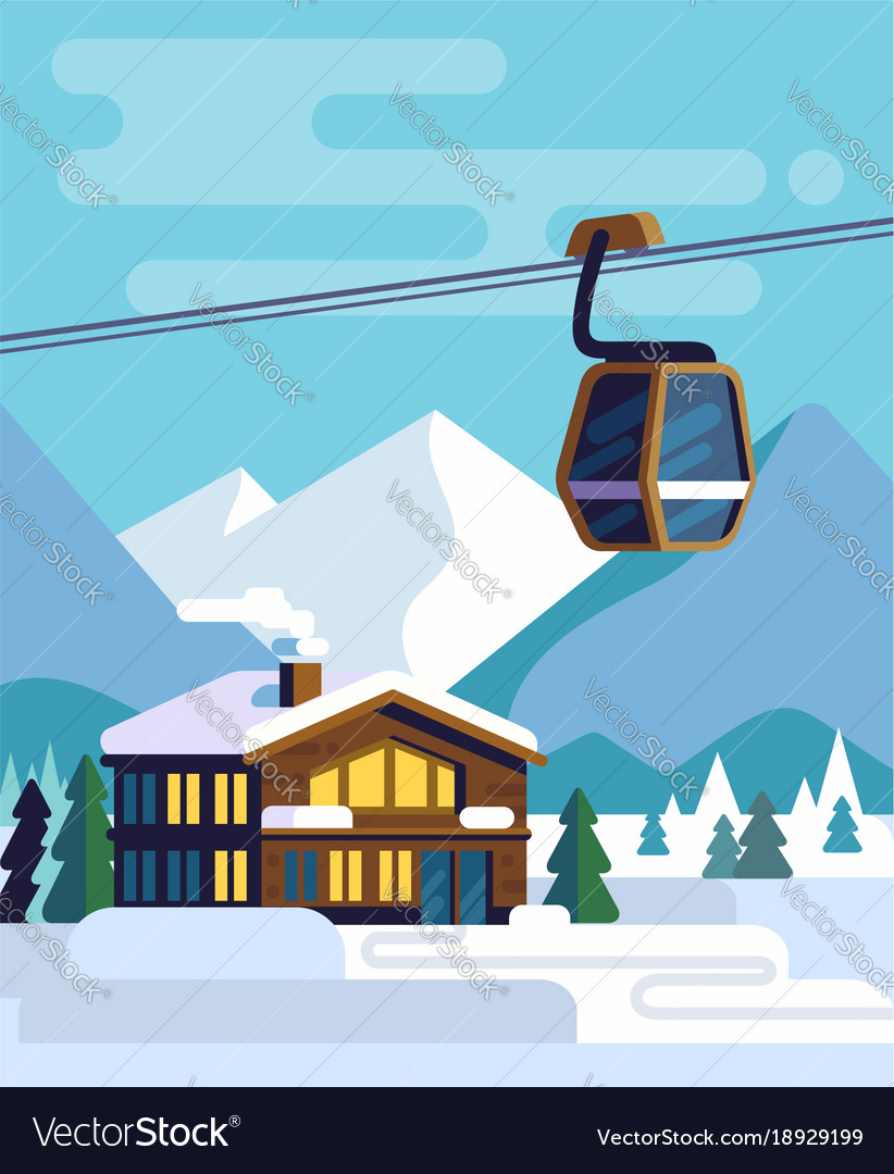 Resort with hotel with a ski lift