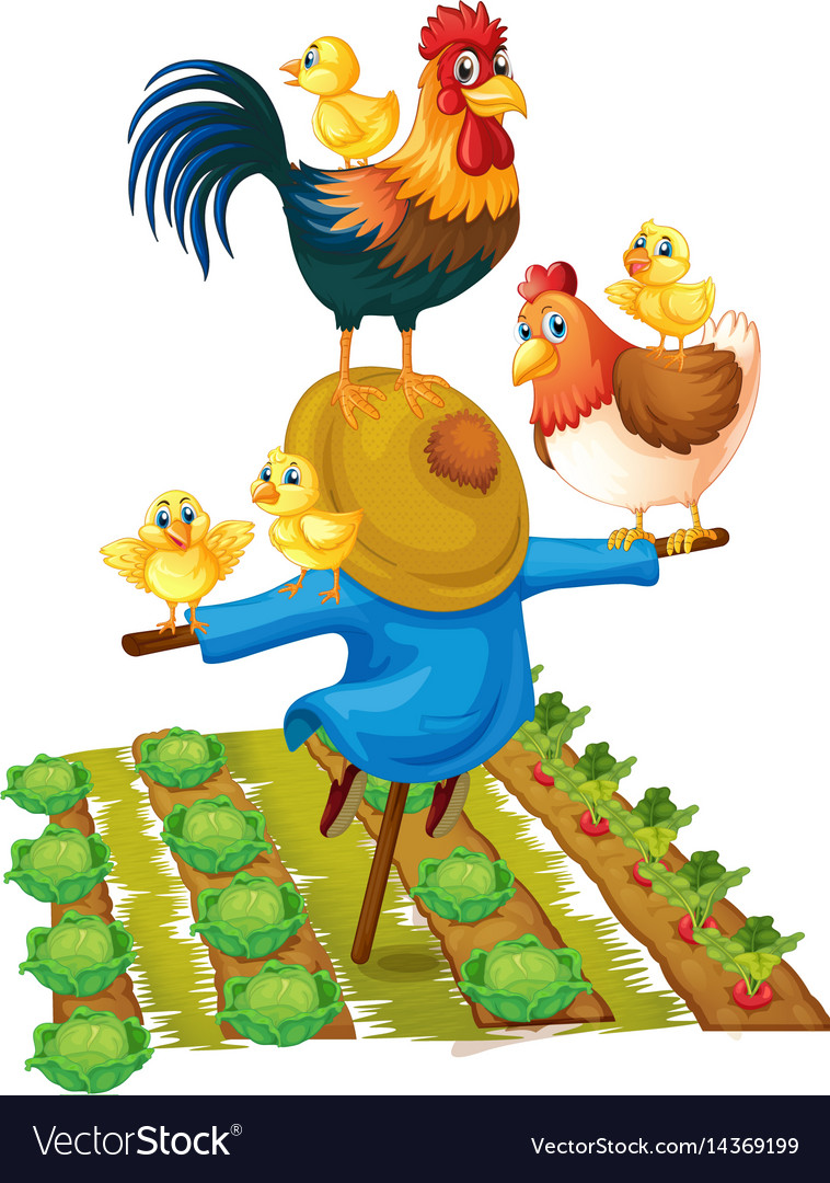 Scarecrow and chickens in vegetable garden vector image