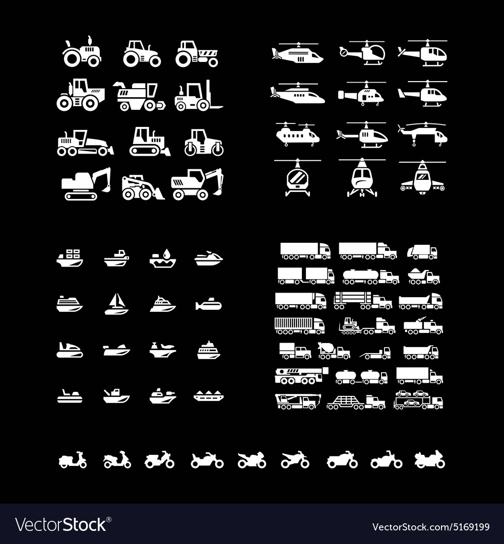 Set icons of transport vector image