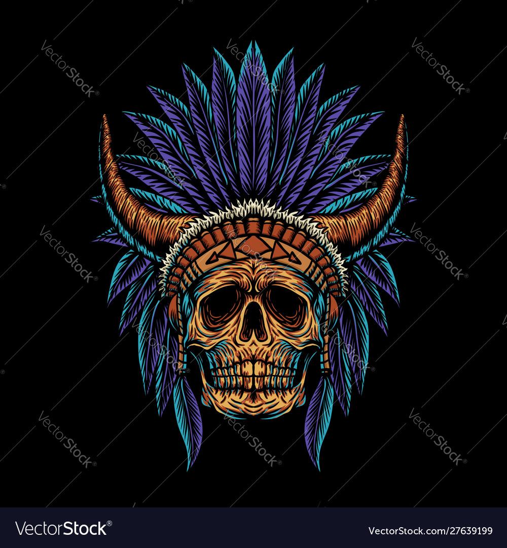 Skull indian horn