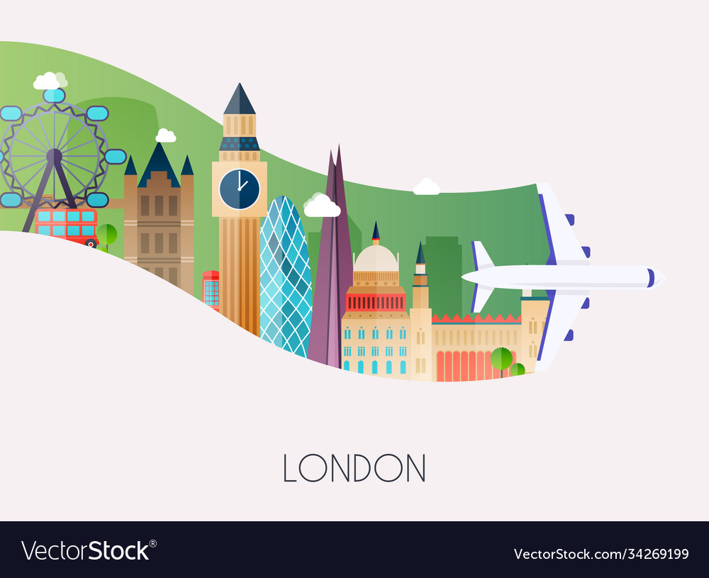 Travel to london traveling on airplane planning a