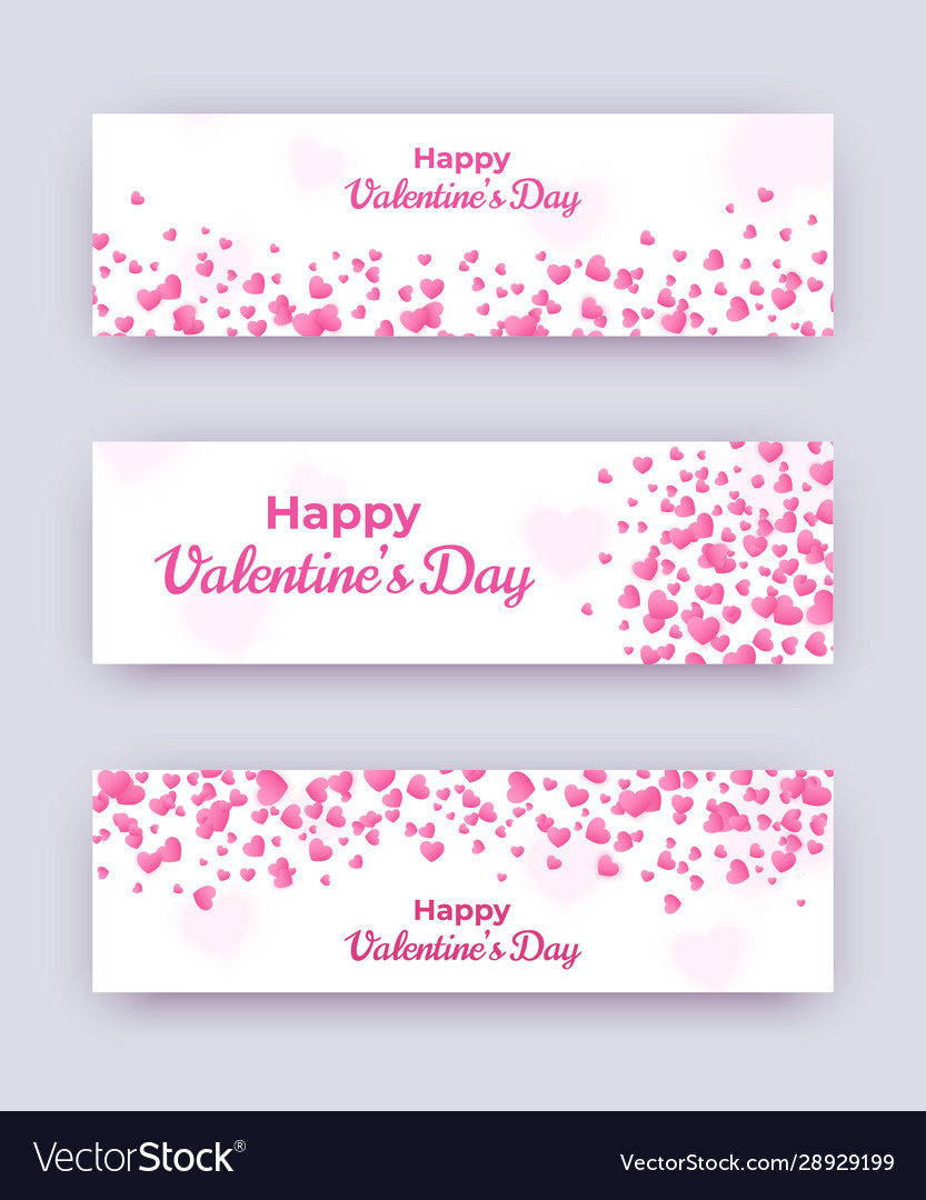 Valentine day banner set white love coupons