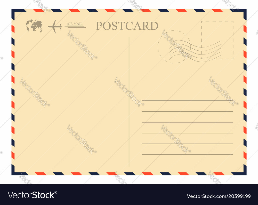 Vintage postcard template retro airmail envelope