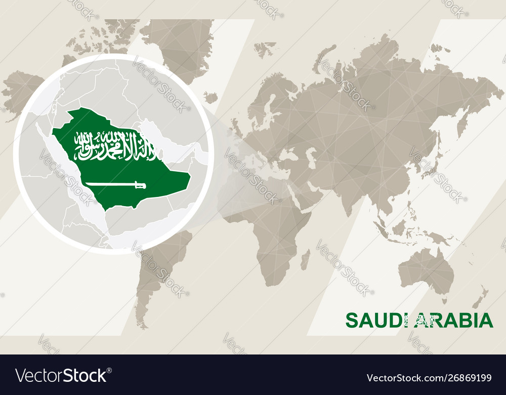 Zoom on saudi arabia map and flag world map