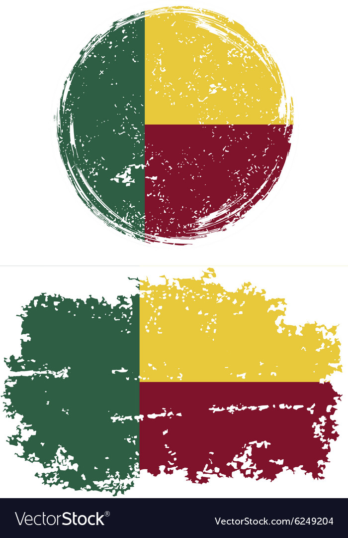Benin round and square grunge flags