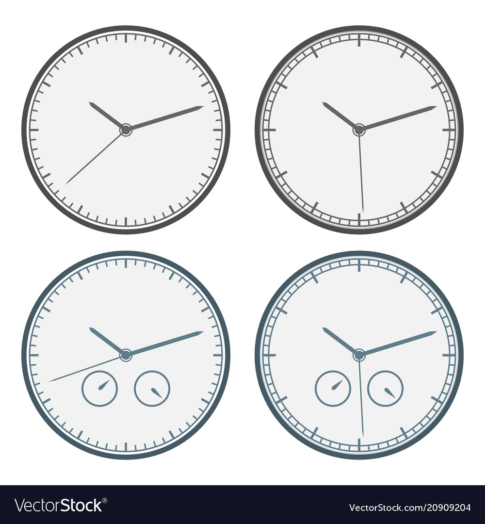 Clock icon set outline isolated