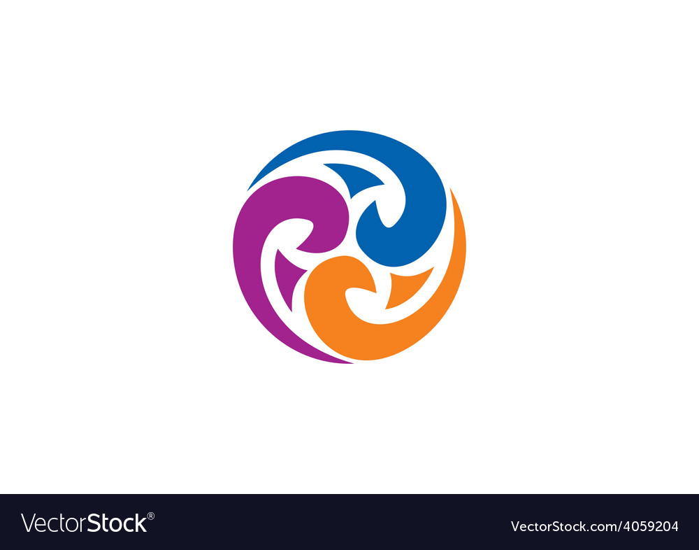 Decorative circle swirl abstract logo vector image