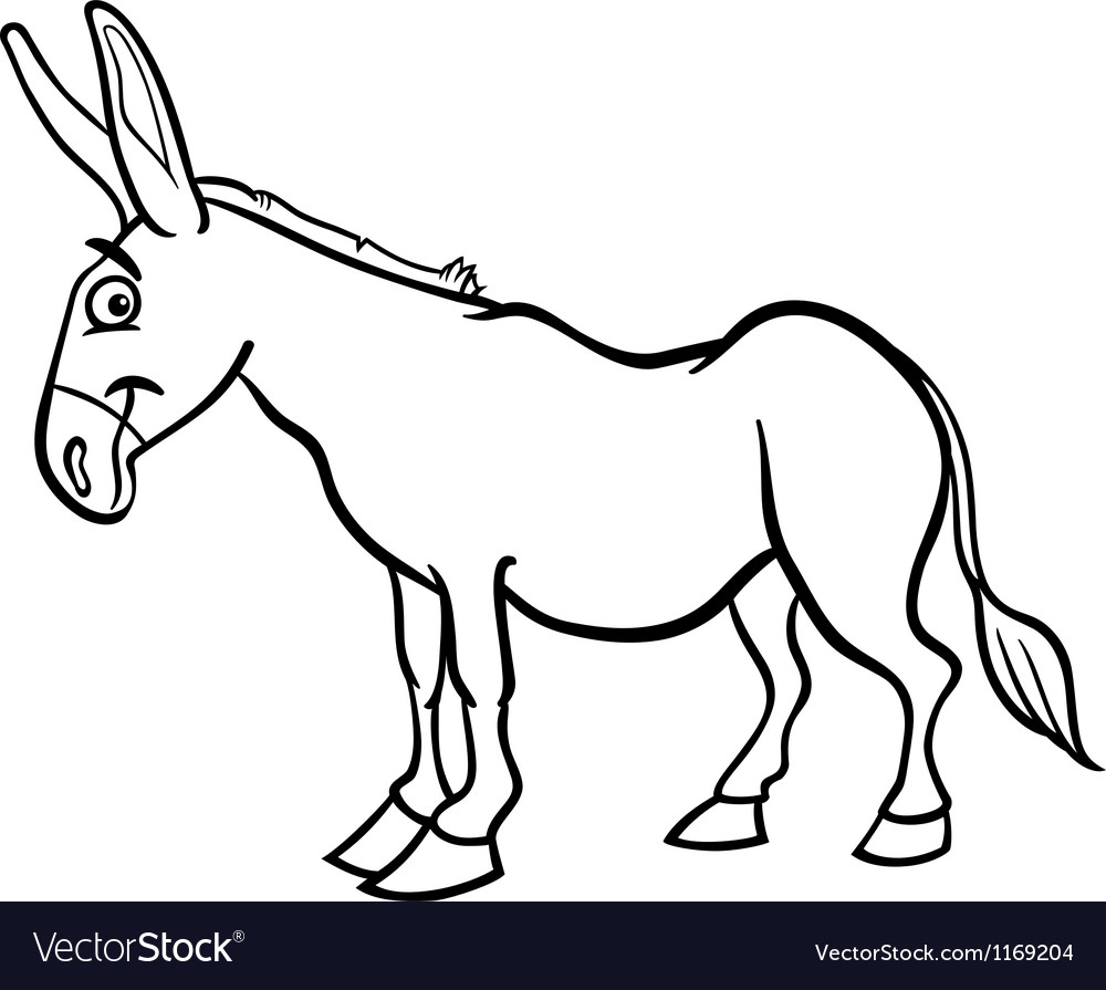 Farm Donkey Cartoon For Coloring Book Vector Image