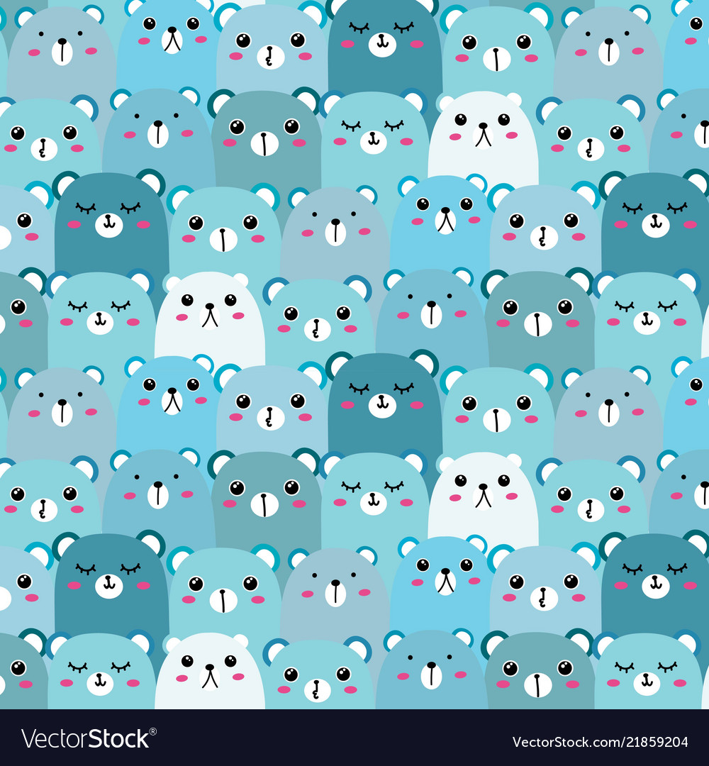 Hand drawn bears pattern background fun doodle