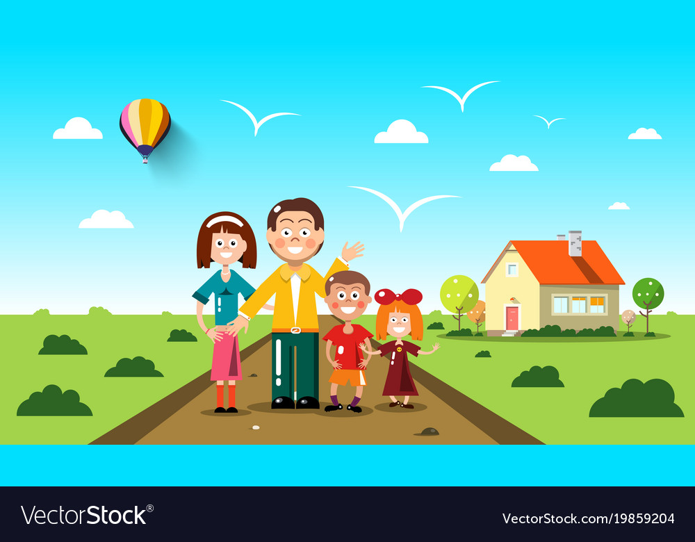 People with family house on background flat