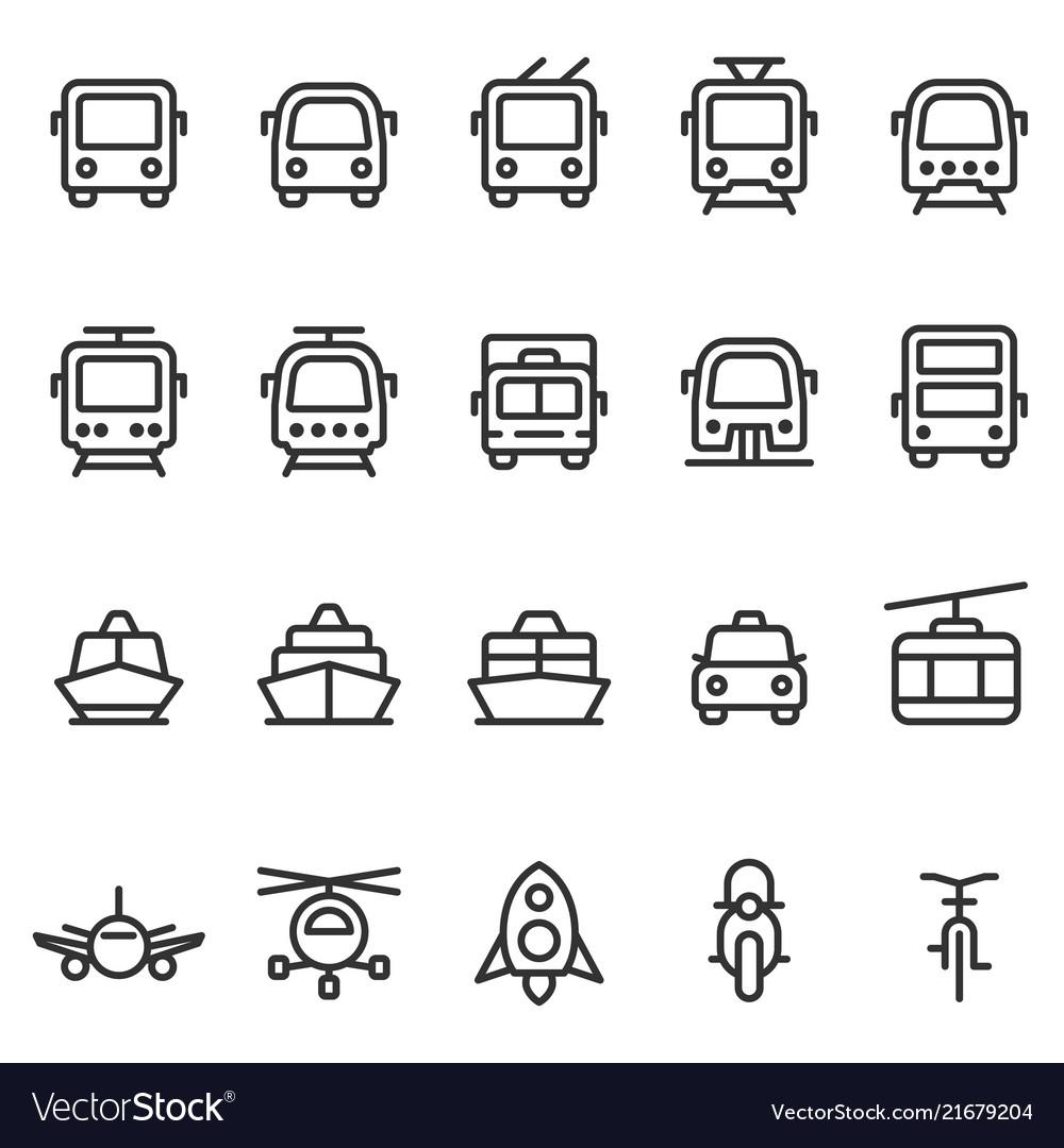 Public transport outline style icon set