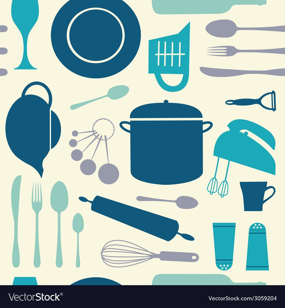 Seamless kitchen pattern vector image