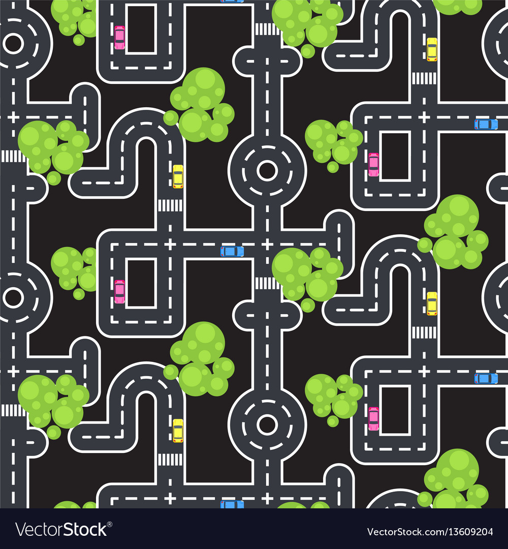 Top view roads and streets seamless pattern