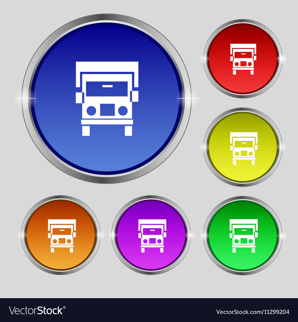 Truck icon sign Round symbol on bright colourful vector image