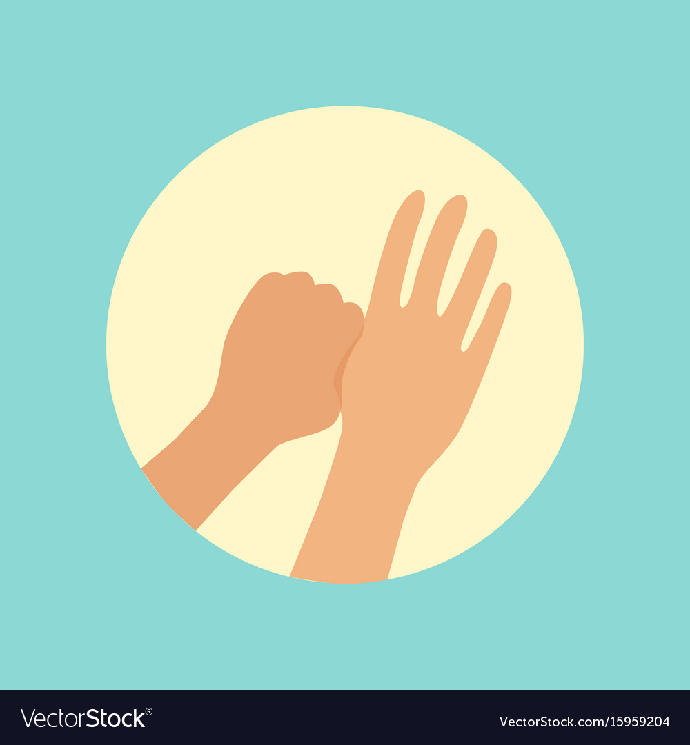 Washing hands focus on thumbs finger round vector image