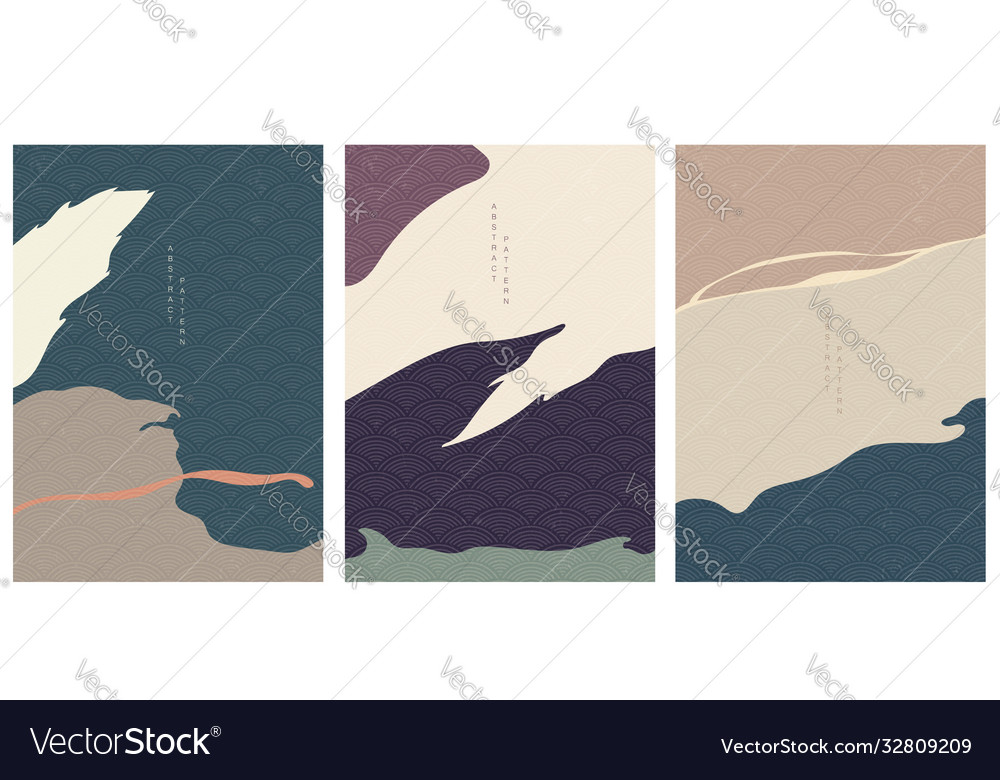 Abstract art background with japanese wave