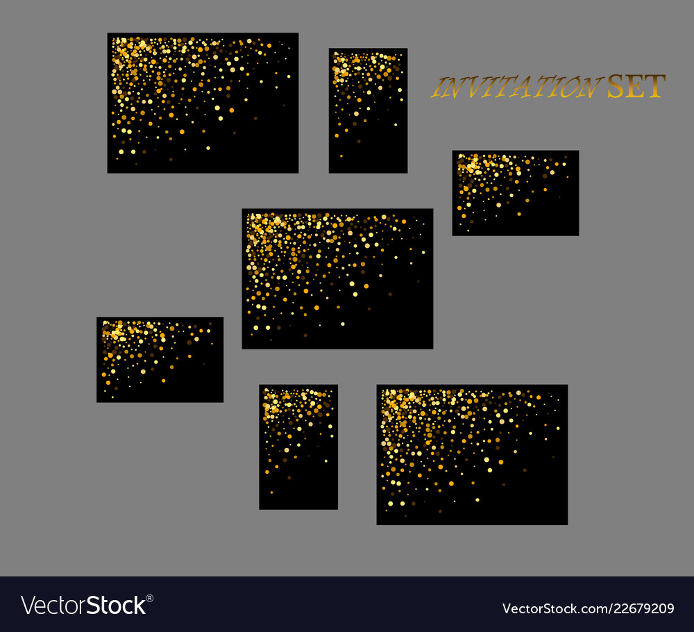 Banners and cards gold sparkles on black