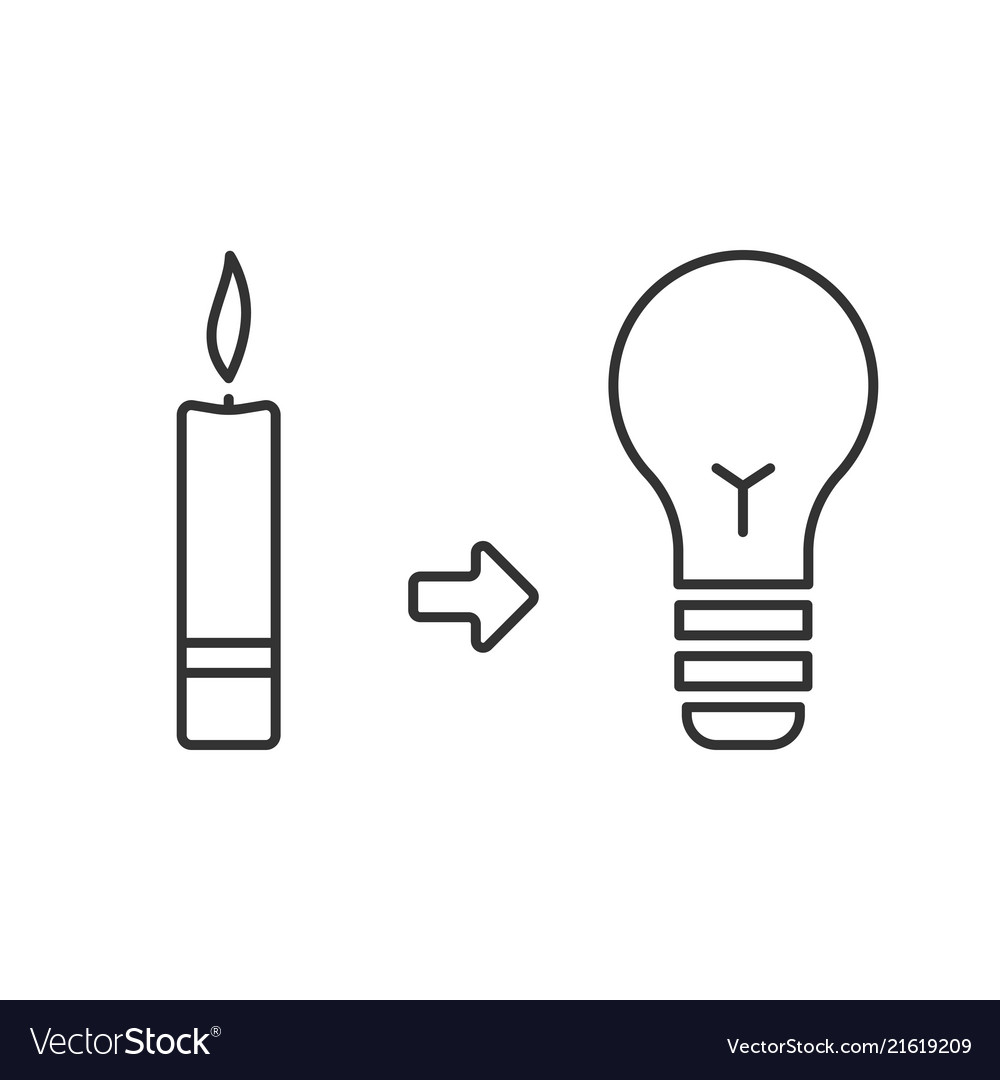 Candle and light bulb lighting before and now