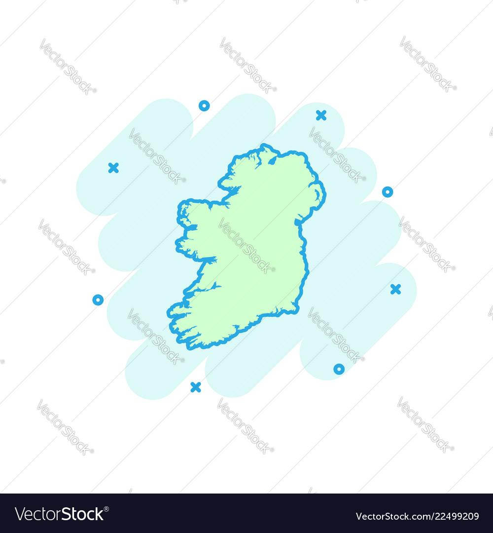 cartoon ireland map icon in comic style ireland vector image vectorstock