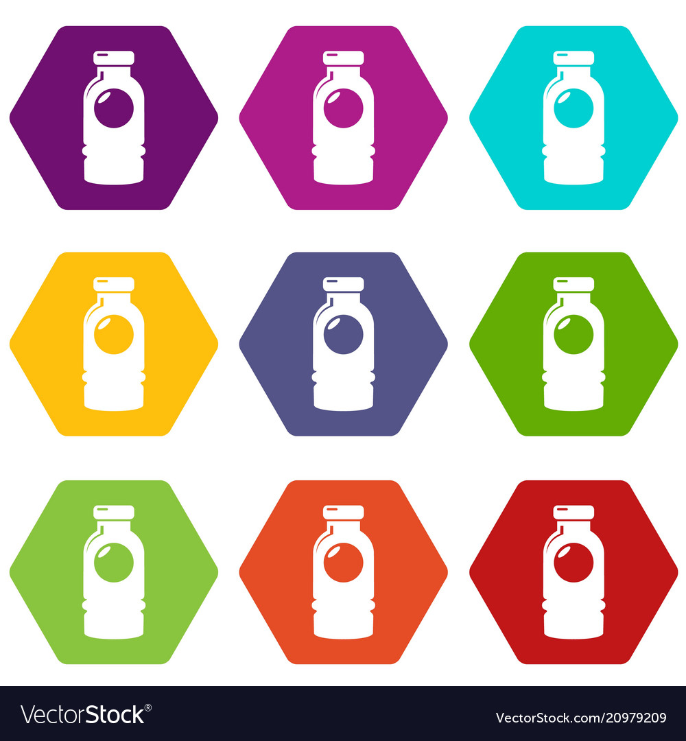 Cosmetic bottle icons set 9 vector image