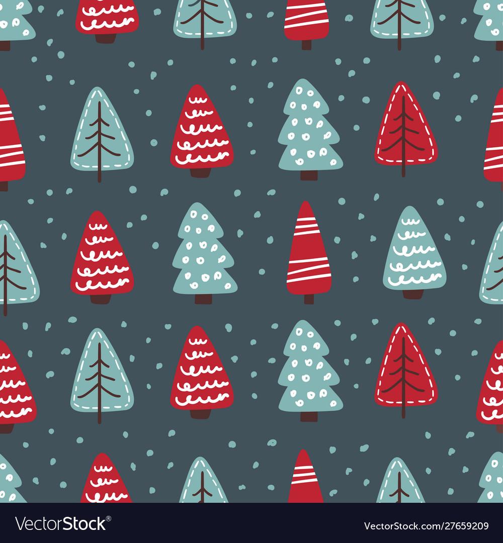 Cute christmas trees seamless pattern