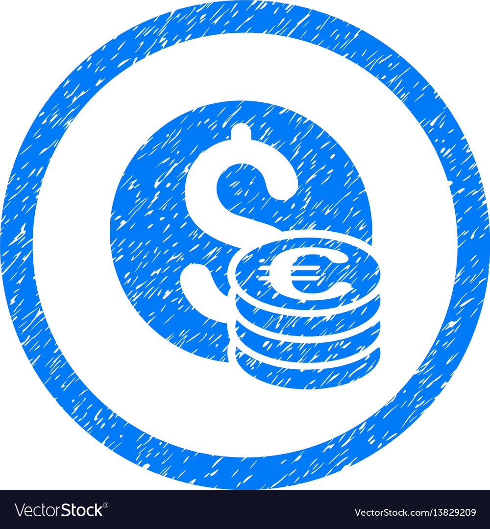 Euro and dollar coins rounded icon rubber stamp vector image
