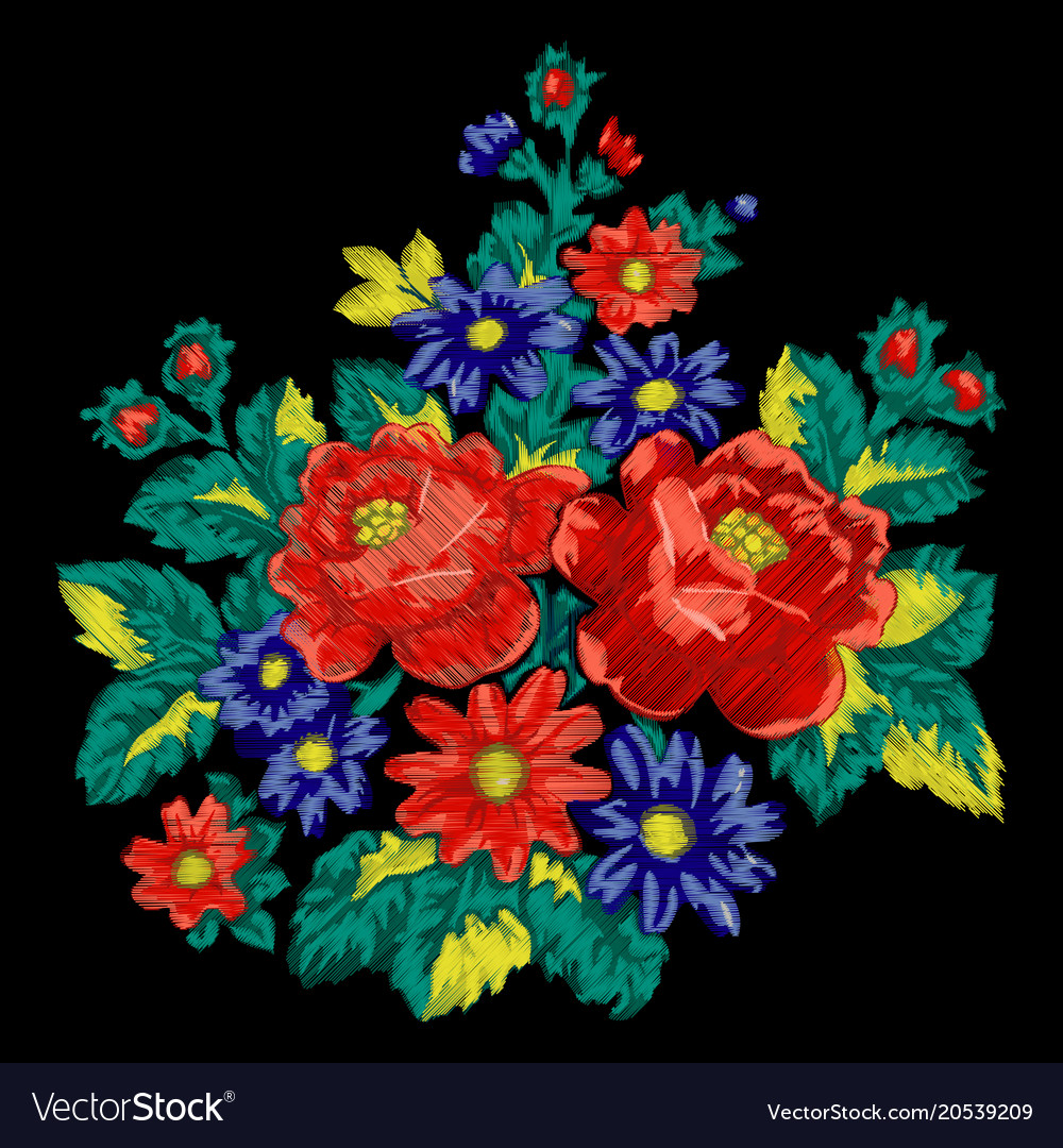 Floral embroidery fashion ethnic bouquet
