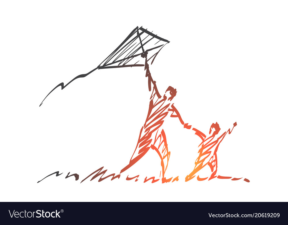 Hand drawn dad and son flying kite