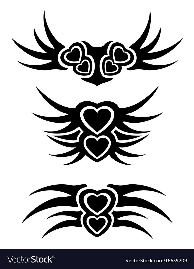 Hearts tribal tattoo set