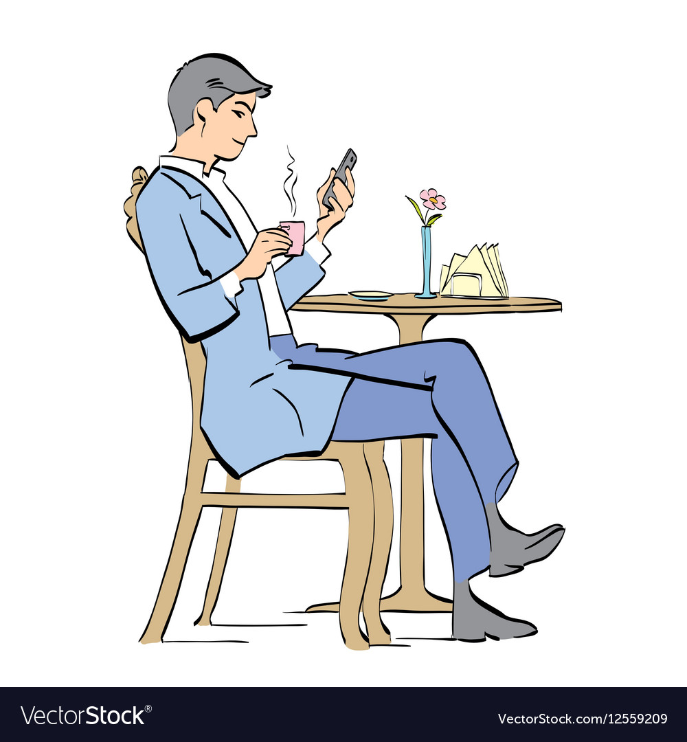 Man drinking coffee in cafe vector image