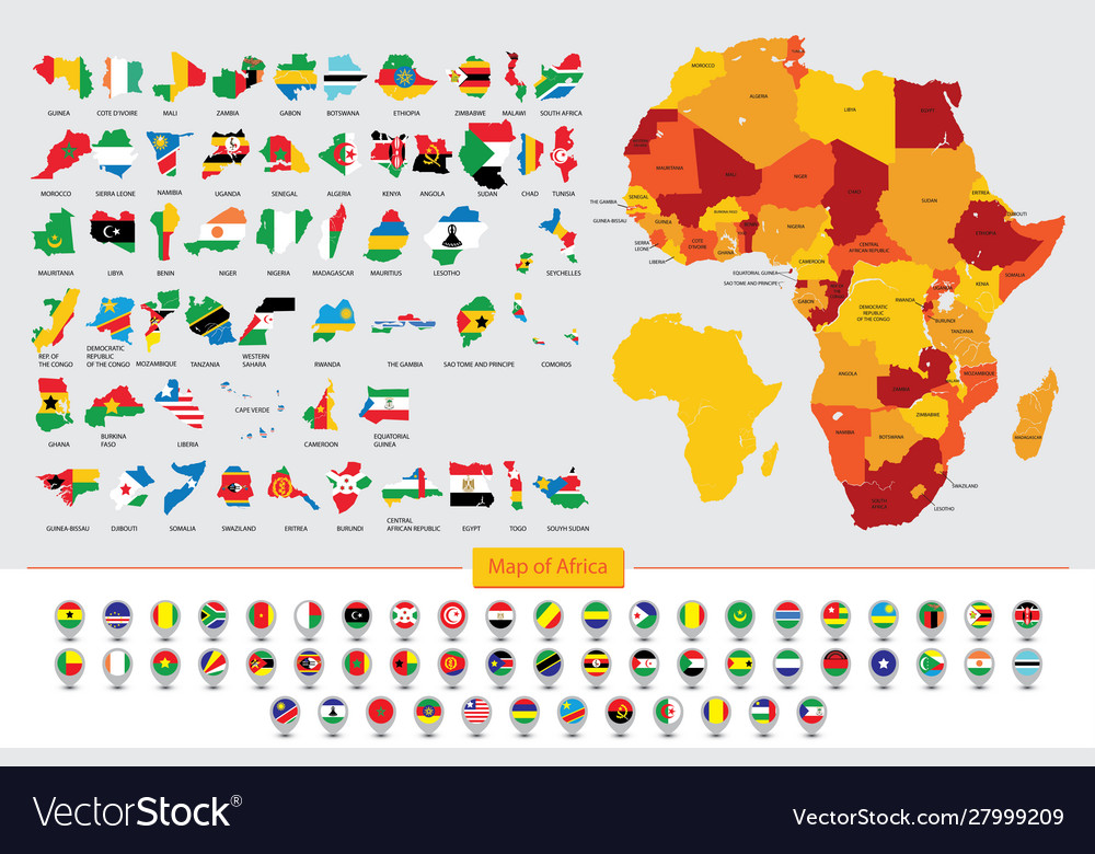 Map Of Africa Flags.Map Africa Flags African Countries