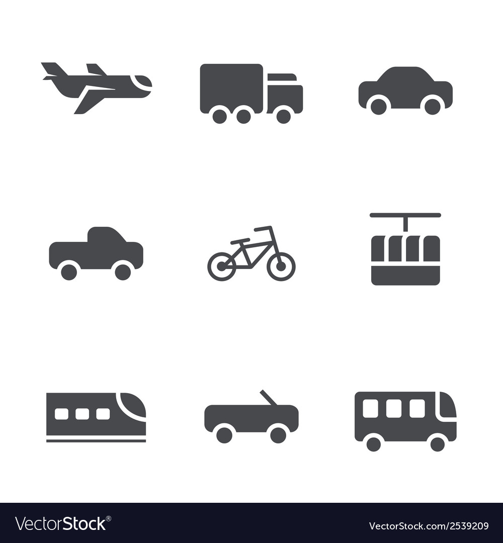 Modes of transport icons set