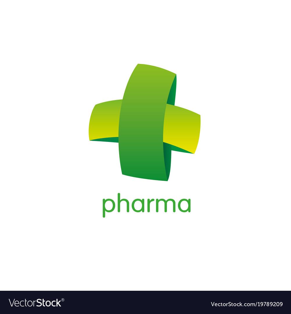 Pharmacy logo medicine green cross abstract