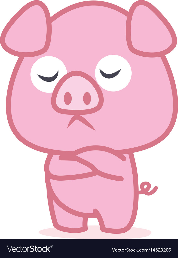 Pink pig cartoon character vector image
