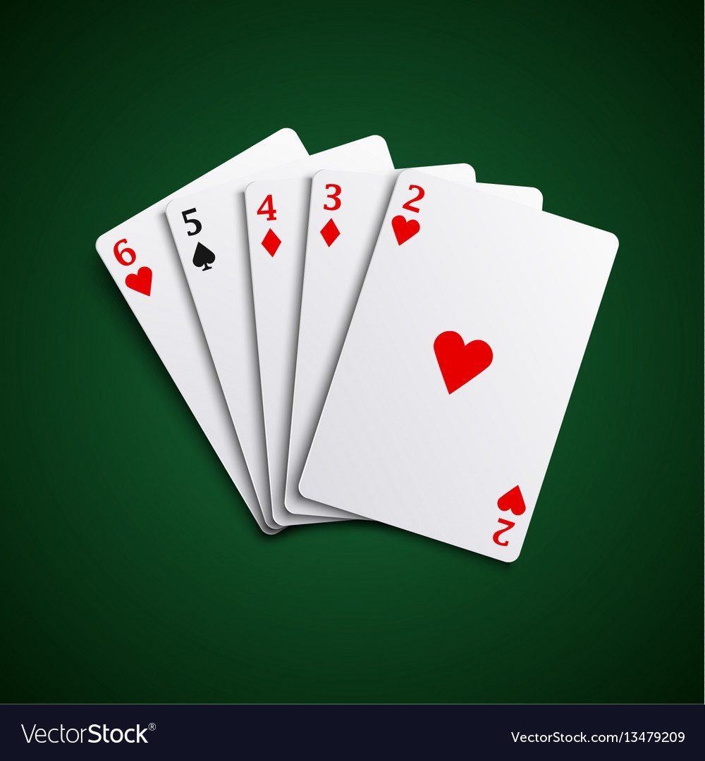 Poker hand cards straight combination template vec