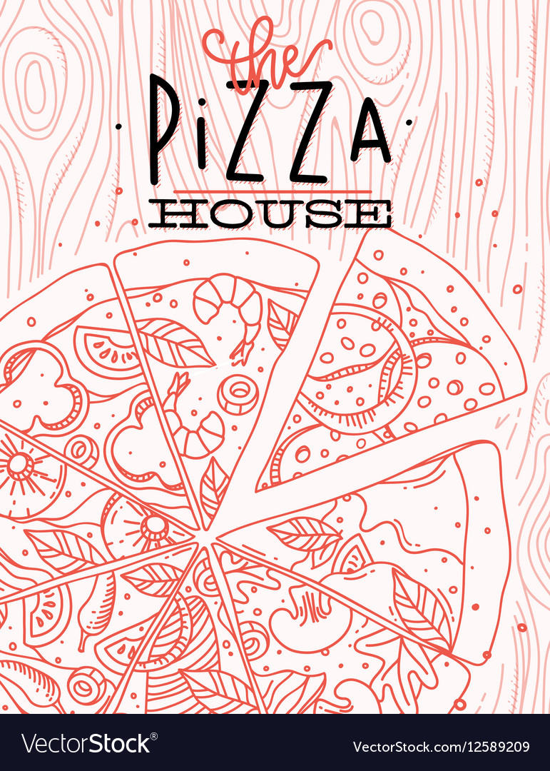 Poster pizza wood vector image