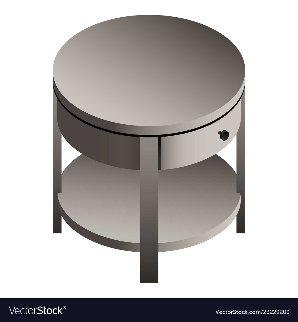 Round Bedside Table Icon Isometric