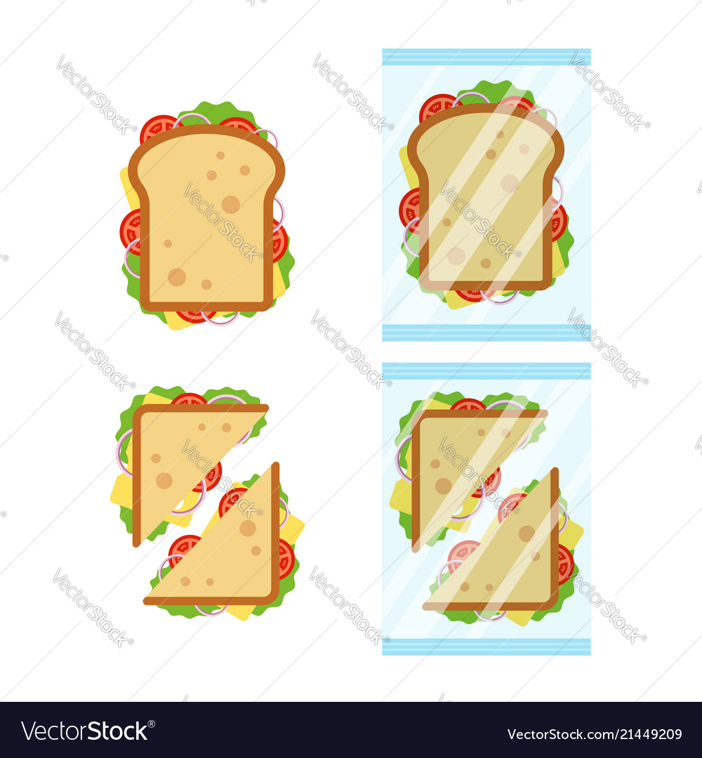 Set of sandwiches top view with tomato onion