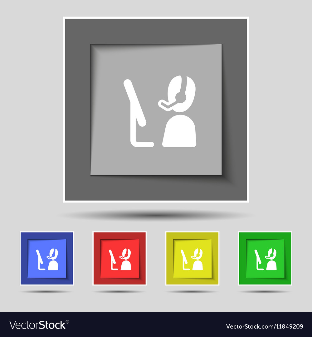 Telemarketing icon sign on original five colored vector image