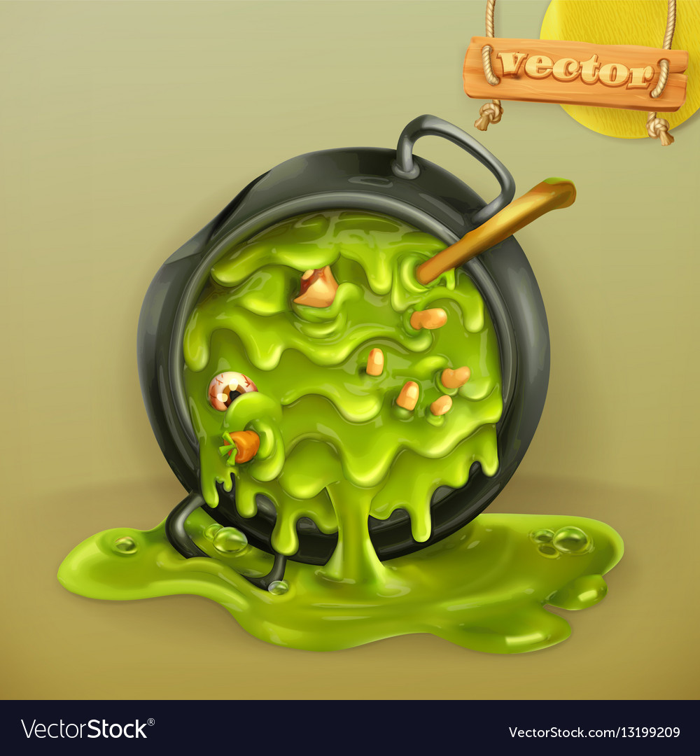 Witch Kitchen Pot with a potion Halloween 3d icon